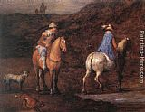 Jan the elder Brueghel Travellers on the Way [detail 1] painting